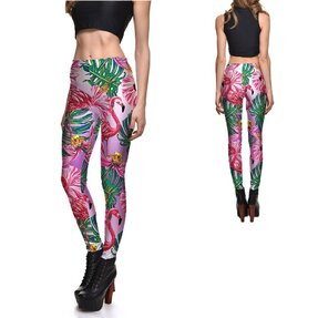 Női elasztikus leggings Gradient Flamingo