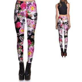 Női elasztikus leggings Pink Blossom Skulls