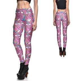 Női elasztikus leggings Pink Space Unicorn