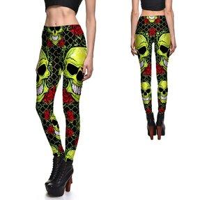 Női elasztikus leggings Skulls And Roses Green