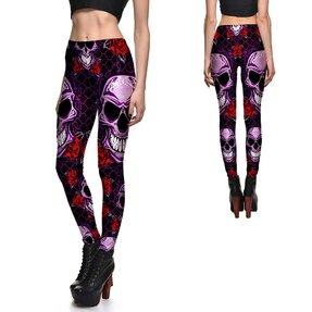 Női elasztikus leggings Skulls And Roses Purple
