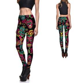 Női elasztikus leggings Teal Sugar Skulls