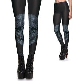 Női elasztikus leggings Szegecses koponya