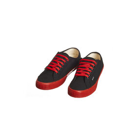 Ladies' Canvas Hemp Trainers black with red rubber sole