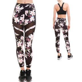 Női hálós sportos leggings - Romantikus virágok