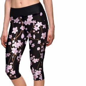 Női sportos capri leggings Cseresznye virágok