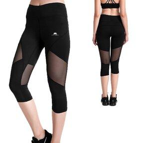 Női sportos capri leggings hálós résszel Fekete szín
