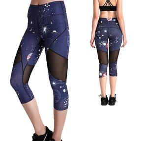 Női sportos capri leggings hálós résszel Űr részek