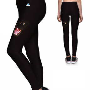Ladies' Elastic Sport Leggings - Black Cat
