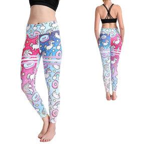Női sportos elasztikus leggings Mesebeli egyszarvúk