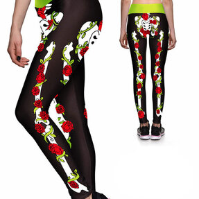 Női sportos elasztikus leggings Rózsák és csontok