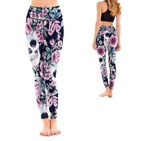 Női sportos elasztikus leggings Skull Midnight Garden