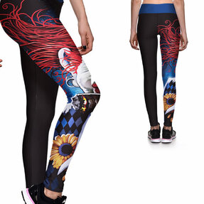 Damen Sport Elastisch Leggings Gespenstischer Clown