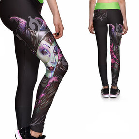 Damen Sport Leggings Elastisch Dunkle Fee