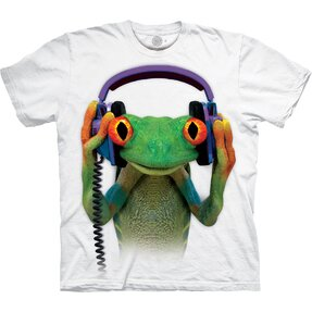 Biele tričko Žaba so slúchadlami