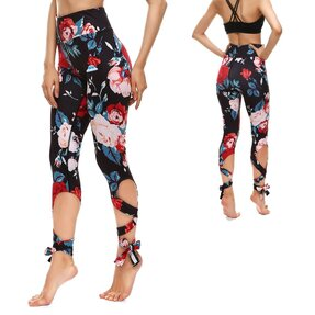 Fitness Leggings mit Bindung Blackout Roses