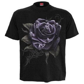 Černé tričko Fialová růže