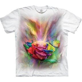 Fehér póló Színes rózsa