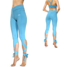 Kék fittnes leggings kötéssel