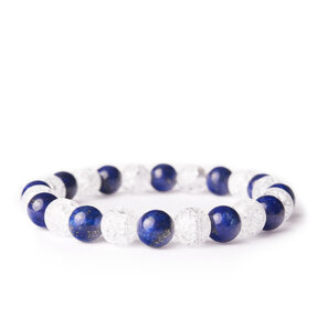 Náramok Lapis lazuli, Praskaný krištáľ - kamene priateľstva a čistoty