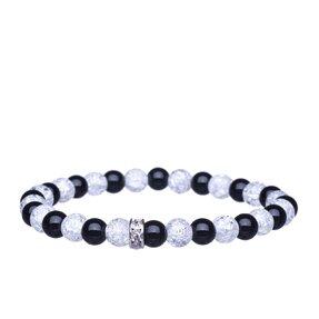 Armband Onyx, Geborstener Kristall, Zirkone kleine Kügelchen - Steine des Selbstvertrauens und der Reinheit