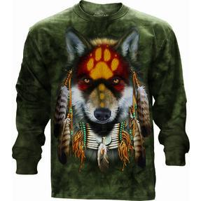 Tričko s dlouhým rukávem Vlk indián