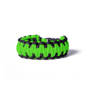 Paracord Survival Bracelet with Adjustable Fastening - Green and Black
