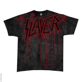 Šedé batikované hudobné tričko Slayer Raining blood