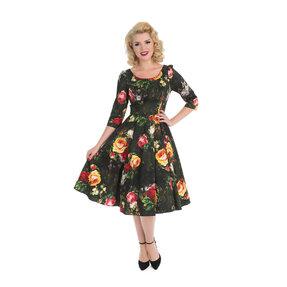Retro pin up šaty s rukávom Maľované ruže