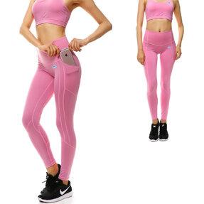 Růžové dámské sportovní legíny s kapsou