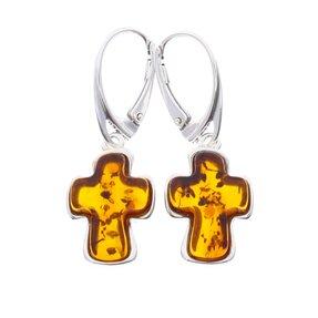 Silberne hängende Ohrringe mit Bernstein Ovales Kreuz