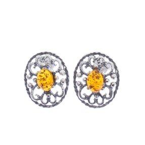 Ezüst stekkeres fülbevaló borostyánnal Virág