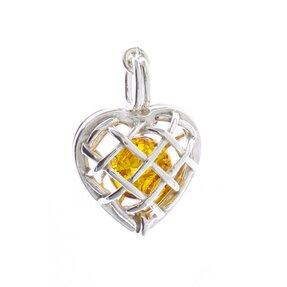 Stříbrný přívěsek s jantarem Zlatá perla