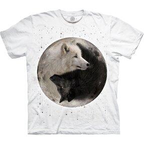 Bílé tričko Jin Jang vlci