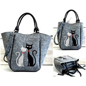 Kabelka do ruky Piknik - Černá A Bílá Kočka
