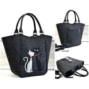 Kabelkado ruky Piknik Antracit - Čierna a biela mačka