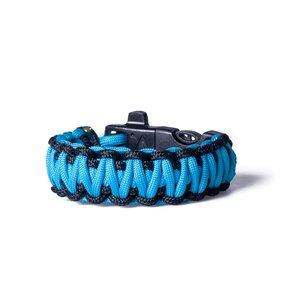 Paracord Brăţara survival – albastră  cu negru şi amnar de magneziu