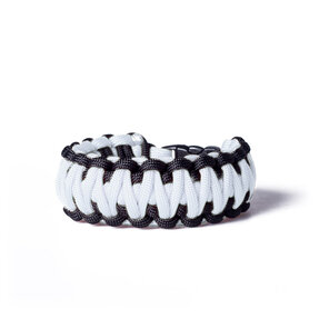 Paracord survival bracelet-white-black