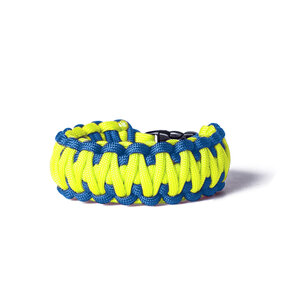 Paracord Survival bracelet blue-yellow
