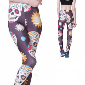 Ladies' Elastic Leggings Cartoon Skulls