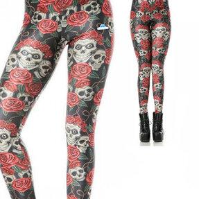 Női elasztikus leggings Koponya és rózsák