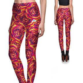 Női elasztikus leggings Színes rózsák