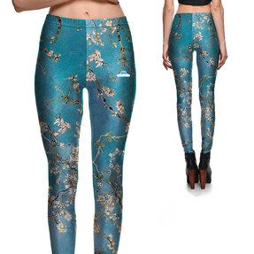 Női elasztikus leggings Mandula virágok