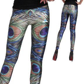 Női elasztikus leggings Pávatoll