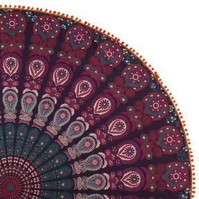 Bavlnená mandala Hippie oranžové pom pom