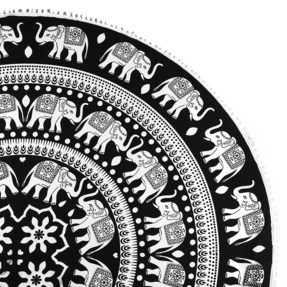 Round Beach Throw Nature Mandala BlackWhite