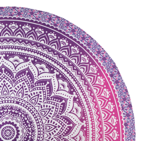 Round Beach Throw Pink Ombre Mandala