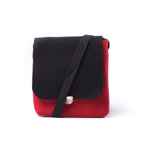 Clip Cross Shoulder Handbag - Black and Red