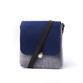 Clip Cross Shoulder Handbag - Blue and Grey