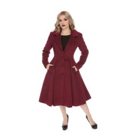 Bordový dámský retro kabát s knoflíky